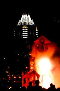 The 2008 New Years Eve Clock Burn in Downtown Austin, created by Community Art Makers. Photo by Bill Ledbetter.