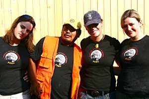 A Burners Without Borders crew poses at a work site in Peru. Photo by Emma Taylor.